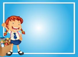Grensmalplaatje met gelukkig meisje en speelgoed