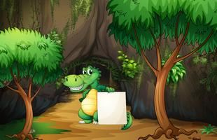A crocodile holding an empty paper outside the cave