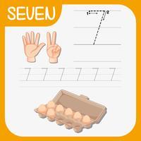Number seven tracing worksheets