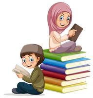 Leitura de menino e menina muçulmana
