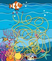 Jogo de labirinto com peixes e recifes de corais