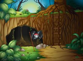 Una cueva y una bandera pirata.