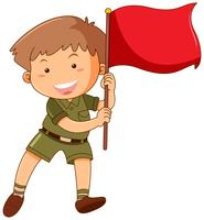 Little boy with red flag
