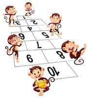 Six monkeys playing hopscotch