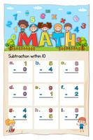 Math worksheet for subtraction within ten