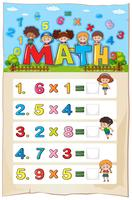 Math worksheet template with kids and multiplication problems