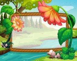 Ramdesign med blommor och flod