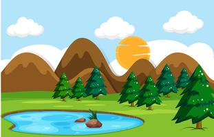Flat nature landscape day time vector