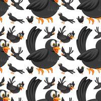 Pássaros pretos sem costura voando