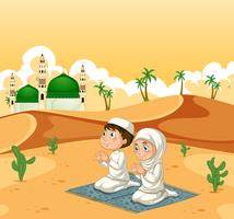 A muslim couple at desert