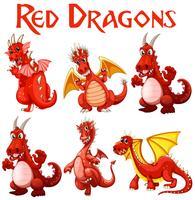 Set van rode draak karakter