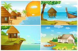 Fyra bakgrundsscenarier med hav och flod