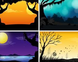 Quattro scene della natura con sfondo colorato