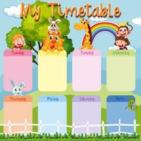 Timetable template with animals and kids