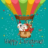 Cartolina di Natale felice con Babbo Natale sul palloncino