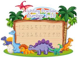 Writing number practice dinosaur theme