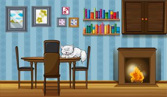 A cat sleeping above the table beside the fireplace vector
