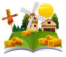 Livro com celeiro e espantalho na fazenda