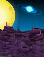 Space background with yellow moon