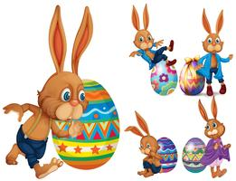Brown rabbits and easter eggs
