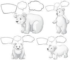 Oso polar y burbujas de discurso