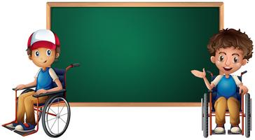 Two boys on wheelchairs by the board