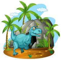 Dinosauro di fronte alla grotta
