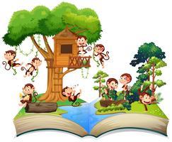 Macacos brincando na casa da árvore