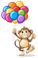 Monkey holding colorful balloons