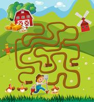 Game template with farmer in the farmyard