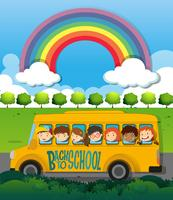Children riding on school bus
