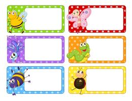 Polkadot labels with many insects vector