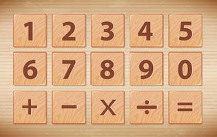 Wooden number font symbol
