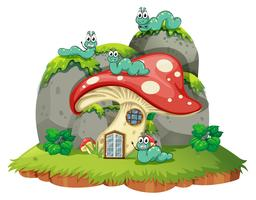 Mushroom house with four caterpillars