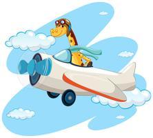 Giraffe riding vintage airplane