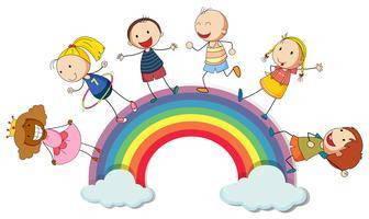 Kinder stehen auf dem Regenbogen
