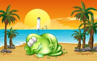 Un monstruo durmiendo profundamente en la playa.