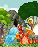 Drake vid vattenfallet och grottan