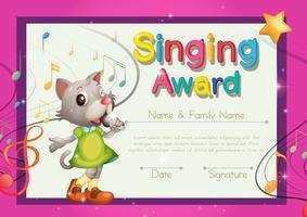 Zingen award-sjabloon met kitten zanger