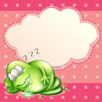 A monster sleeping and salivating with an empty cloud template at the back
