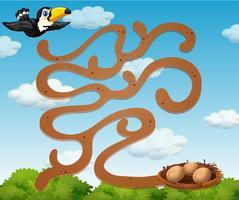 Ein Tukan, der die Nestspielvorlage findet