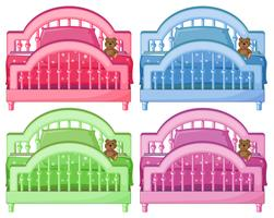 Vier bunte Betten