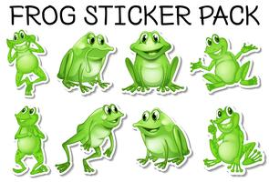 Sticker set of green frogs