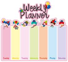 Weekly planner note template with happy clowns