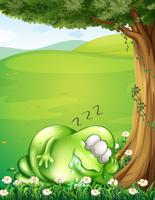 A hilltop with a monster sleeping under the tree