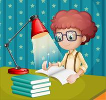Um menino estudando