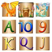 Dragões e cartas em crachás quadrados