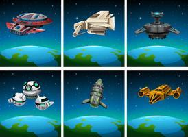 Astronavi galleggianti nello spazio buio