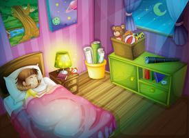 meisje slaap in de slaapkamer 's nachts