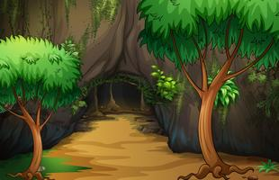 Een grot in het bos